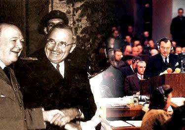 O aperto de mãos entre os Aliados e o Tribunal de Nuremberg: os dois lados do mundo após a Segunda Guerra.