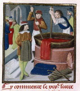 Gravura de Bartholomaeus Anglicus (Jean Corbechon), de 1482, mostrando o trabalho de tintura em uma manufatura de tecidos *