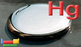 Mercúrio: líquido tóxico.