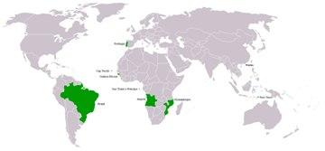 Países (em destaque) nos quais o português é a língua oficial.