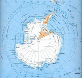 Mapa da Antártida.
