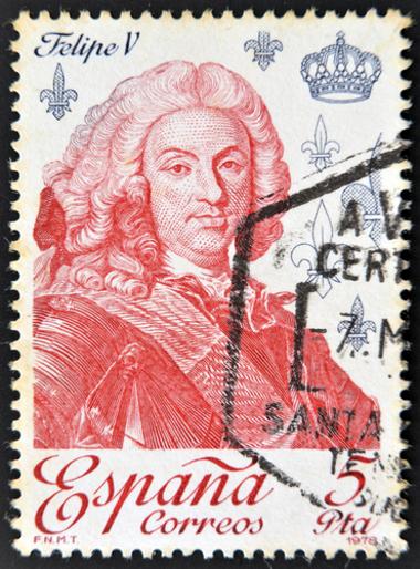 Selo espanhol com imagem do rei Felipe V *