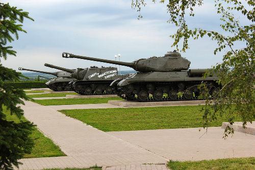 Memorial em Prokhorovka em lembrança ao confronto de blindados durante a Batalha de Kursk *
