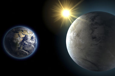 Nessa ilustração, a Terra está ao lado do planeta Kepler 452-b, descoberto em 2015 por meio da sonda Kepler