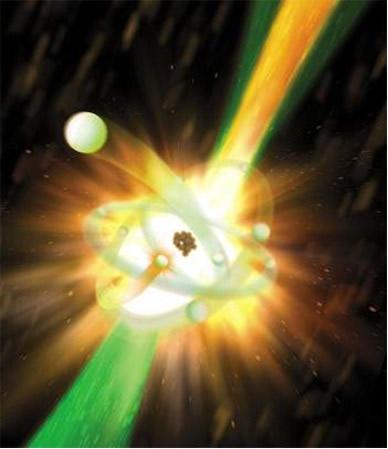 A transmutação artificial é conseguida em laboratório por meio do bombardeamento de núcleos estáveis com diferentes partículas