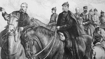 O rei Guilherme I, da Prússia (à direita, em primeiro plano), e seus generais
