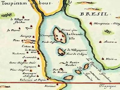 Mapa francês feito durante a colonização da França Antártica