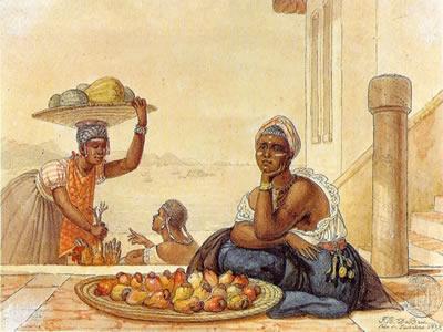 Negra vendendo caju, gravura de Jean-Baptiste Debret (1768-1848) que mostra uma das atividades varejistas das mulheres na colônia