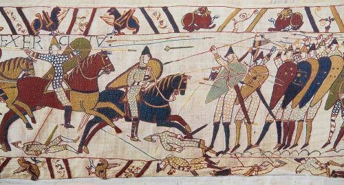 Pintura retratando as invasões normandas que foram realizadas na Inglaterra durante o século XI *