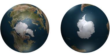 Os polos norte e sul da Terra