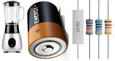 Exemplos de gerador, receptor e resistores elétricos