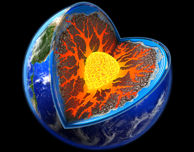O centro da Terra possui elevadas temperaturas e é inatingível para o ser humano