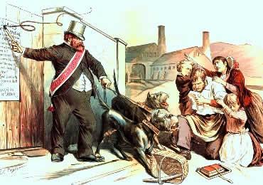 Charge ilustrando a dominação do patrão sobre uma família operária.