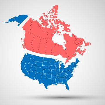 A América Anglo-saxônica é formada pelos Estados Unidos (Azul) e Canadá(Vermelho)