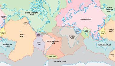 Distribuição das placas tectônicas da Terra