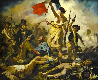 Liberdade Guiando o Povo, de Eugene Delacroix, representando os ideais da Revolução Francesa