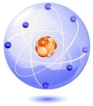 Modelo atômico representando os componentes de um átomo de Nitrogênio