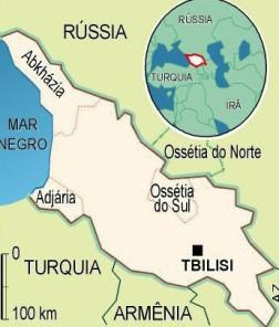 Região do conflito entre Rússia e Geórgia.