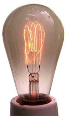 A lâmpada de filamento se aquece ao ser percorrida pela corrente elétrica