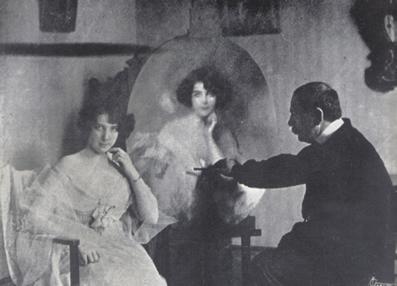 Nair de Teffé sendo retratada pelo pintor francês Guiraud de Scevola