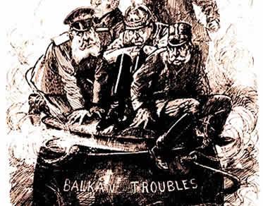 Charge satirizando a intromissão das grandes potências na região dos Bálcãs.
