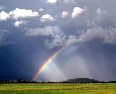O arco-íris acontece em virtude da refração da luz do Sol nas gotículas de água que ficam suspensas na atmosfera
