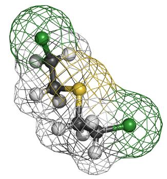 O gás mostarda, uma arma química, é composto pelo tioéter sulfeto de dicloroetila
