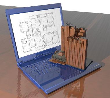 Imagem bidimensional na tela do computador e maquete tridimensional sobre o teclado