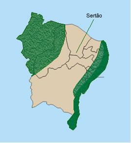Mapa de localização do Sertão nordestino