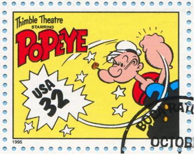 ESTADOS UNIDOS - CIRCA 1995: um selo impresso pelos Estados Unidos mostra histórias em quadrinhos, Popeye, Circa 1995*