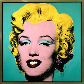 Pintura de Andy Warhol retratando o rosto de Marilyn Monroe.
