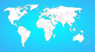 Distribuição espacial dos países atualmente consolidados no mapa-múndi