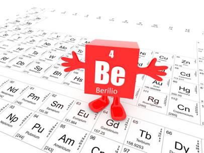 O berílio está na família dos metais alcalinoterrosos (grupo 2) na Tabela Periódica