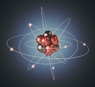 Ilustração de átomo – corresponde apenas a um modelo, e não à realidade