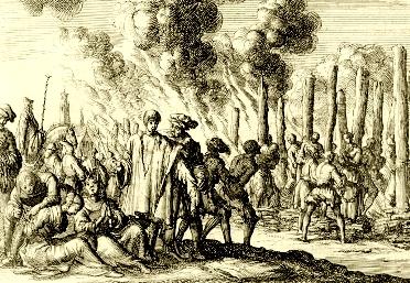 Albigenses sendo perseguidos pelas autoridades religiosas.