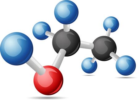 Fórmula estrutural do etanol, álcool que pode ser obtido por hidratação de alceno