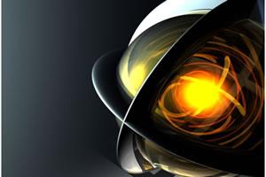 Ilustração de um átomo e seu núcleo.