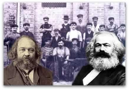Movimento operário no século XIX: à esquerda, o anarquista Bakunin; e à direita, o comunista Marx