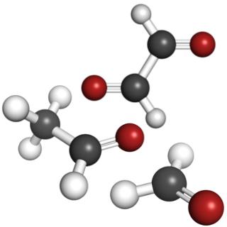 Moléculas de alguns compostos da função dos aldeídos – metanal, etanal e etanodial