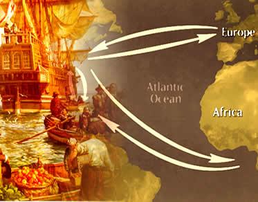 O comércio triangular promoveu o desenvolvimento das colônias da América do Norte.