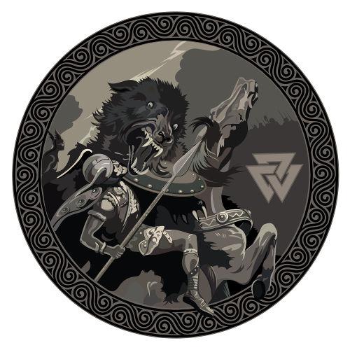 Representação da luta travada entre o lobo gigante Fenrir e Odin durante o Ragnarök