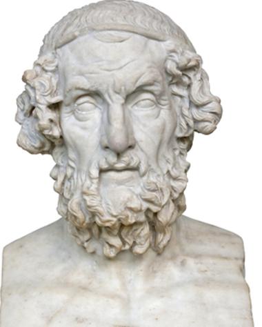 Acima, busto do poeta grego Homero