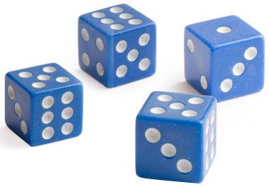 Dados são hexaedros regulares (cubos)