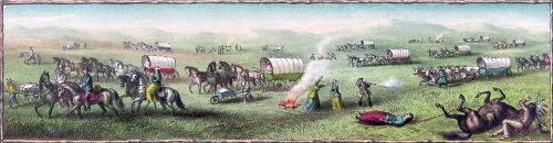 """Ilustração das diligências atacadas por indígenas americanos durante a """"marcha para o oeste"""""""