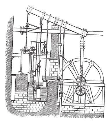 Uma das invenções científicas do século XVIII:  A máquina a vapor, criada por Thomas Newcomen em 1712