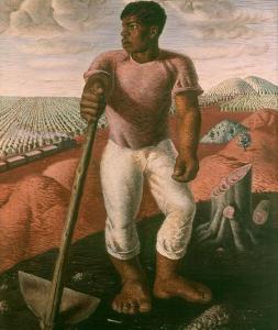 Obra de Portinari que retrata um trabalhador da cultura do café.
