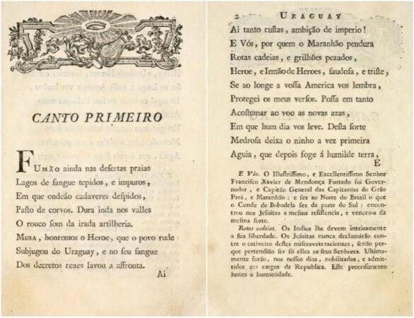 """Páginas do romance """"O Uruguai"""", de Basílio da Gama."""