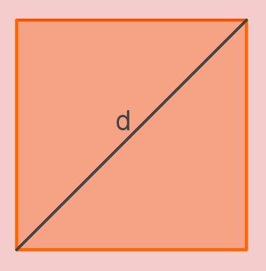 A diagonal de um quadrado é um segmento que liga vértices