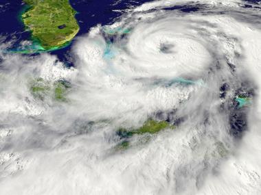 Imagem de satélite de um ciclone, um tipo de fenômeno atmosférico