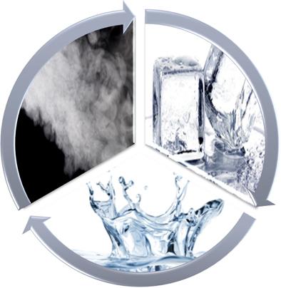 Água em seus três estados físicos (vapor, líquida e gelo)